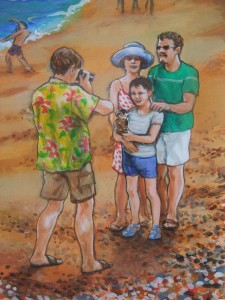 Detail of the Seaside mural showing local character 'Monkey Dave', photographer.