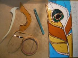Peacock panel being made
